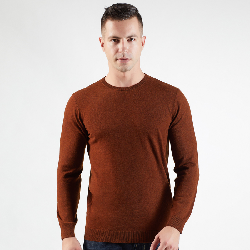 BARESKIY 2019 New Men's O-neck 100% Cashmere Sweater Solid Color Mature Warm Knitted Sweater Business Men's Clothing