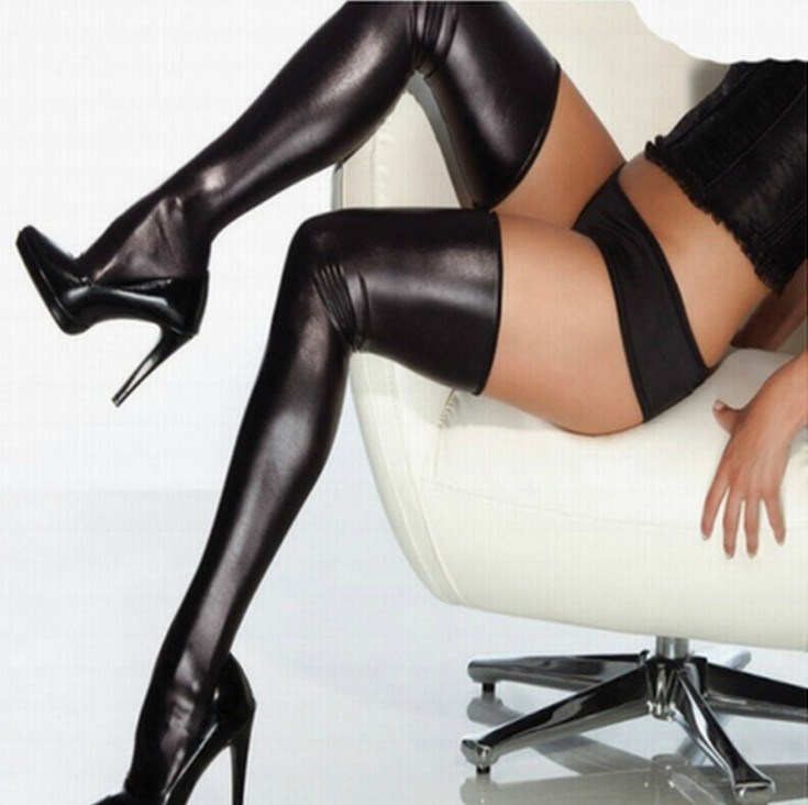 Woman Sexy  Lady Black Stockings Elastic Thigh High Stockings With Lace Spandex Latex Rubber Stockings