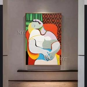Image 3 - جديد مجردة الشكل الفن اليدوية بيكاسو لوحات الاستنساخ الحديثة النفط الطلاء قماش جدار ديكور فني للمنزل جدار صور الفن