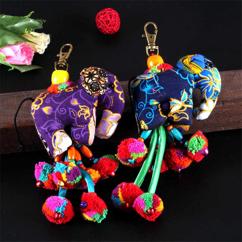 10pcs Extravagante Bonito Animal Elefante Bugiganga Keychain Corda Trançada Handmade Saco Anel Chave Do Carro Chaveiro Pingente Chaveiro Encantos presentes