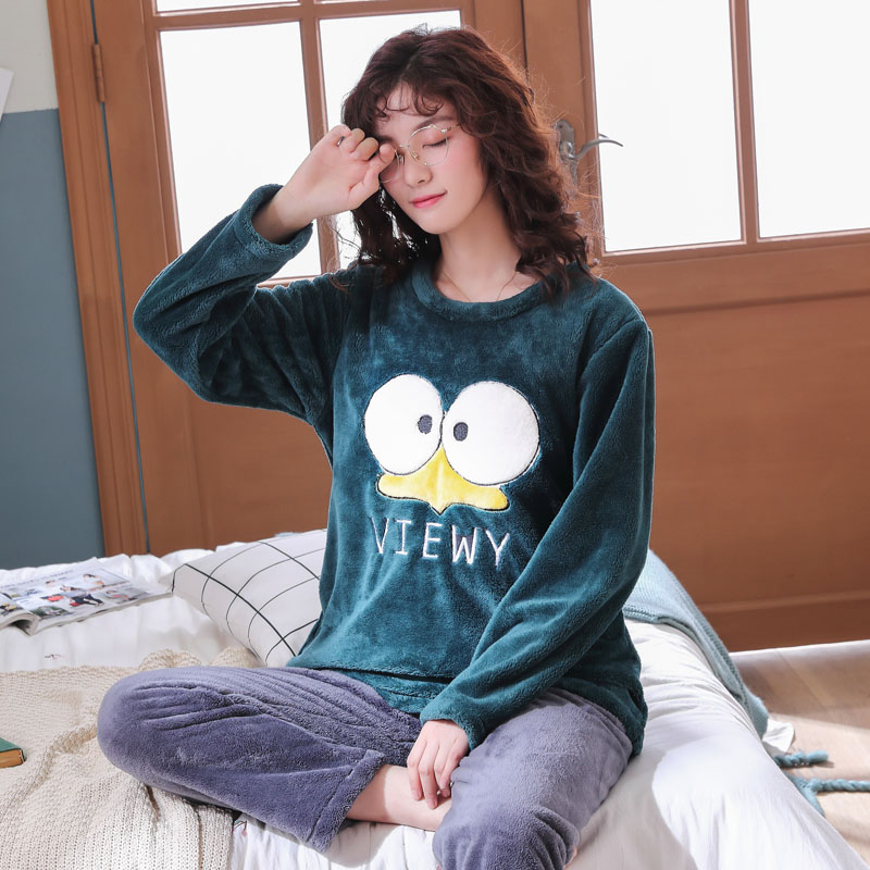 Long Sleeve Warm Flannel Pajamas Winter Women Pajama Sets Print Thicken Sleepwear Pyjamas Plus Size 3XL 4XL 5XL 85kg Nightwear 274