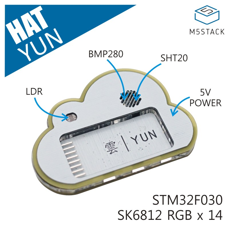M5Stack Official Stick C YUN HAT SHT20 BMP280 14 X SK6812 Multi-Function Environment Information Measurement Base