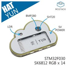 M5Stack Officiële Stok C Yun Hoed SHT20 BMP280 14 X SK6812 Multifunctionele Omgeving Informatie Meting Base(China)