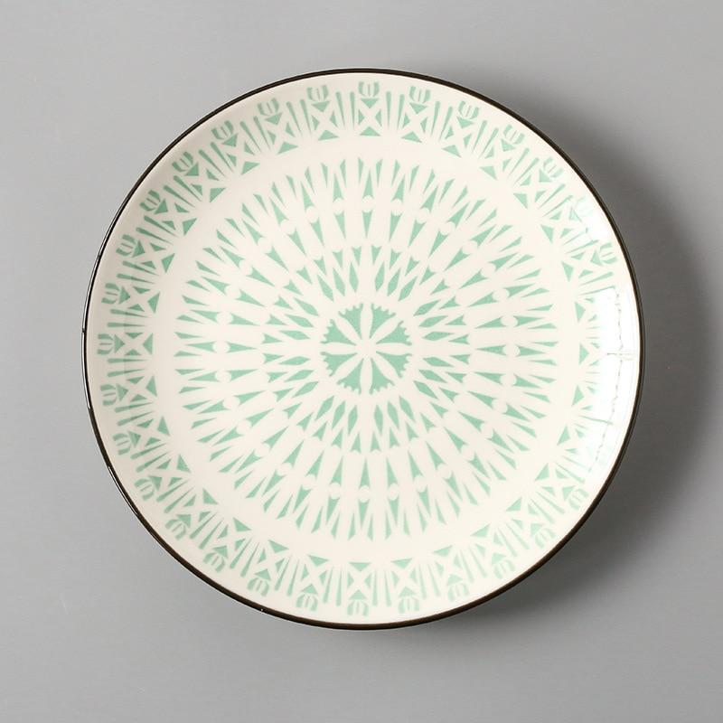 Креативный японский стиль 8 керамическая тарелка дюймовая посуда для завтрака говядины десертное блюдо для закусок простое мелкое блюдо домашнее блюдо для стейков - Цвет: 13