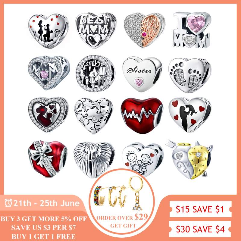 BISAER 925 Sterling Silver Mother Mom Dad Sister Heart Bead Fit Charms Silver 925 Original Bracelet Family Beads Jewelry Making