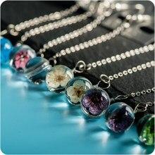 Boucles d'oreilles en verre Transparent pour femmes, fleur séchée, boule de verre, fantaisie, DIY, lignes d'oreilles, # BZ116