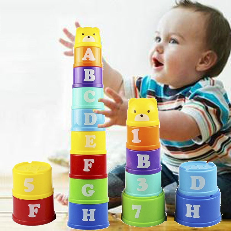 Baby Stacking Cup Toys Educational Toys Bath Time Toys  Rainbow Color Folding Tower Toys Children Birthday Christmas Gift 9pcs