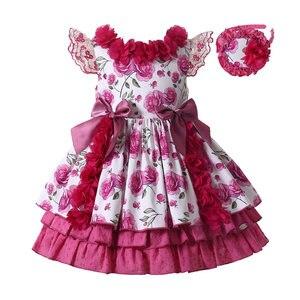 Pettigirl gorący różowy dziewczyny sukienka kwiatowa słodkie urodziny kwiat Tutu sukienki dla dziewczynek