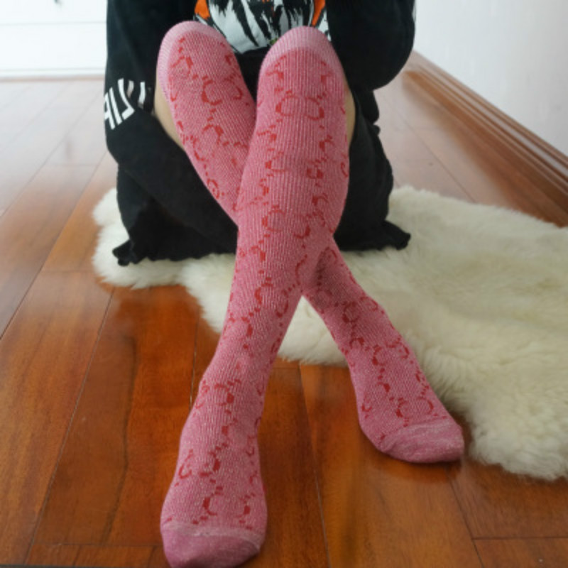 Fashion Letter Sexy Warm Long Cotton Luxury Stocking Over Knee Stocking Women Spring Knee High Thigh Knitted Stockings