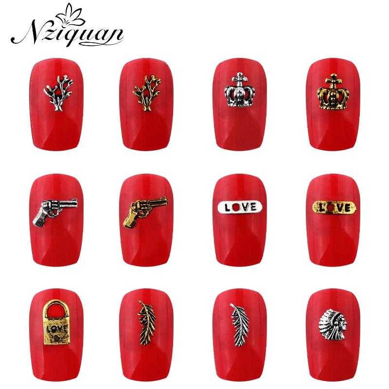 NZIQUAN 20 шт геометрические 3D графика металлические украшения для ногтей огнестойкие/замки мульти-формы DIY аксессуары украшения для ногтей