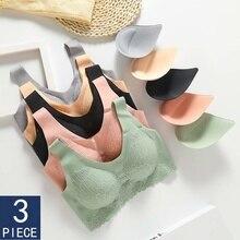 3pcs Latex Bra Seamless Bras For Women Underwear BH Push Up Bralette With Pad Vest Top bra