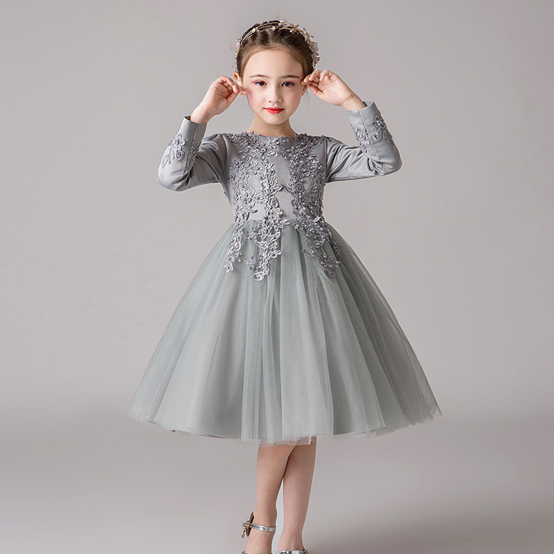 2019 Autumn And Winter New Style Boy's Formal Dress Europe And America Girls Piano Performance Dress Long Sleeve Girls' Princess