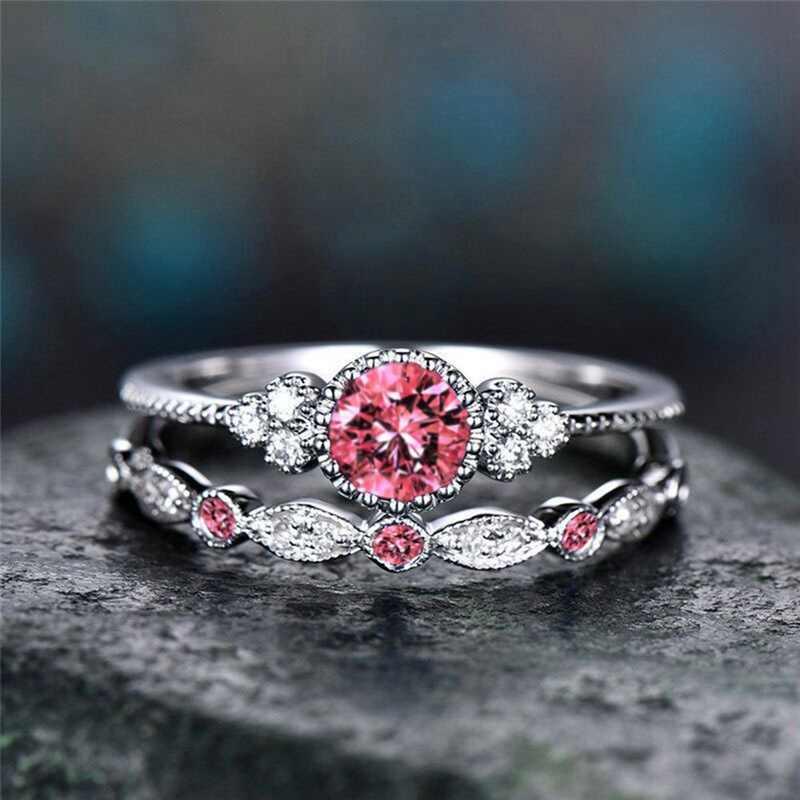 2 pçs/set Luxo Verde Azul Pedra de Cristal Anéis Para As Mulheres Sliver Cor Anéis de Noivado Casamento Jóias Acessórios