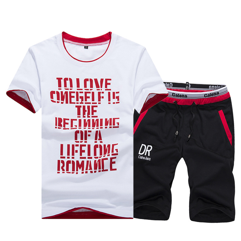 For Summer MEN'S Sport Suit Summer Printed Casual Sports Clothing Short Sleeve Shorts Two-Piece Set Men'S Wear