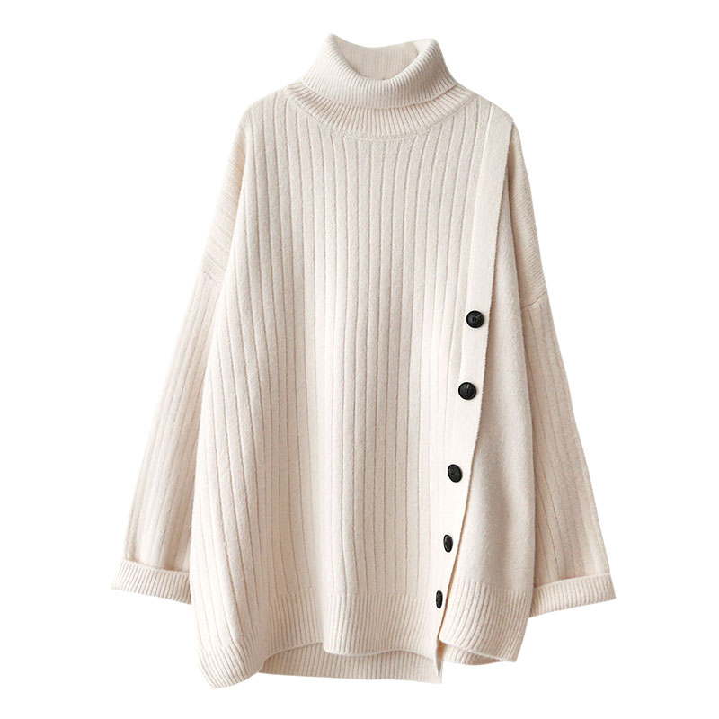 vintage turtleneck women sweater solid knitted loose side buttom lady elegant pulls all match casual pulls fahion outwear tops