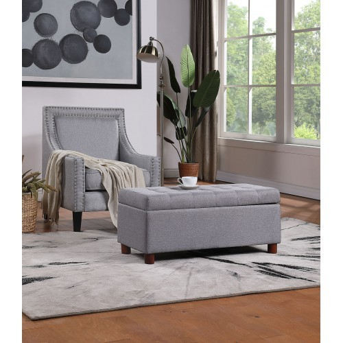【USA in Stock】39'' Storage Bench Tufted Linen Fabric Ottoman Storage Bench Grey , free dropshipping  out door furniture 1