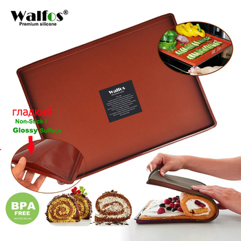 WALFOS FOOD GRADE Silicone Baking Mat DIY Multifunction Cake Pad  Non-Stick  Oven liner Swiss Roll Pad Bakeware Baking Tools silicone oven baking mat roll functional baking macaron non stick cake pad swiss roll pad baking tools for cakes silicone mat