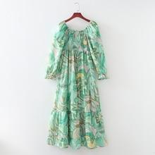 Summer Women's Dress 2021 New Fashion Floral Prints Slash Neck Vestido Modern Lady Shirred Bust Midi Sundress