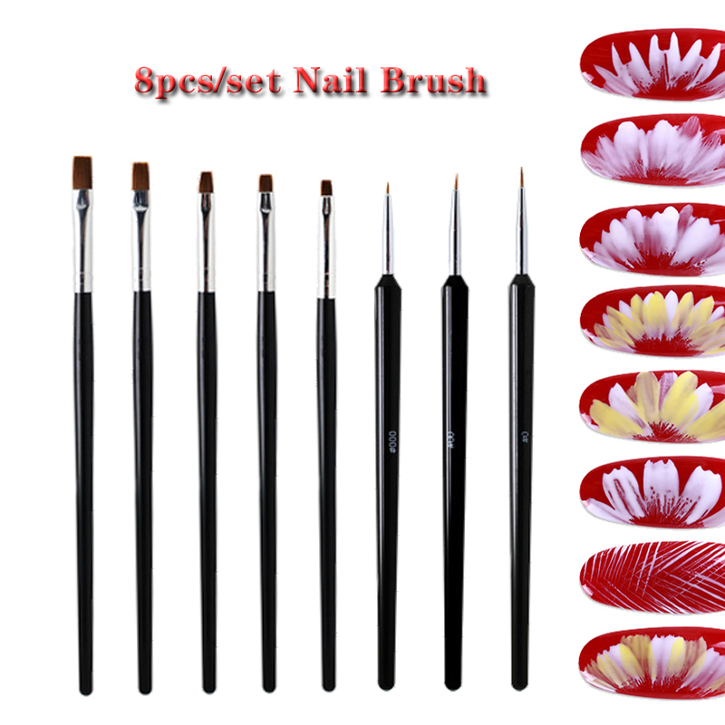 Nail Art Brush Set Gel Nail Acrylic Brushes Nail Design Poly Gel Tool For Manicure Painting Draw Pen To Brush Gel Uv Nail