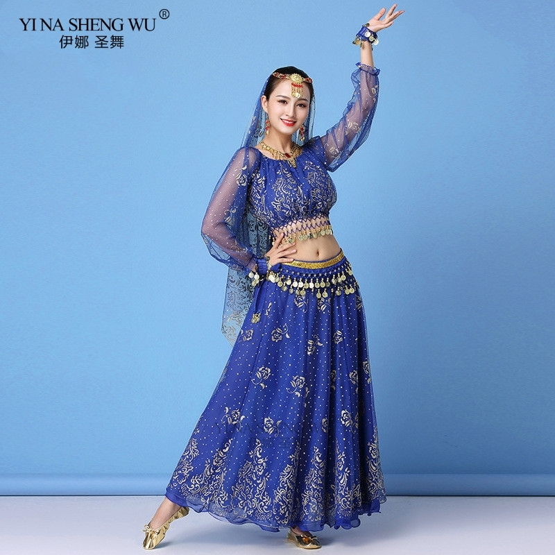 <font><b>Bollywood</b></font> Dress Costume Women Set Indian Dance Sari Belly Dance Outfit Performance Clothes Chiffon Long Sleeve <font><b>Top</b></font>+Belt+Skirt image