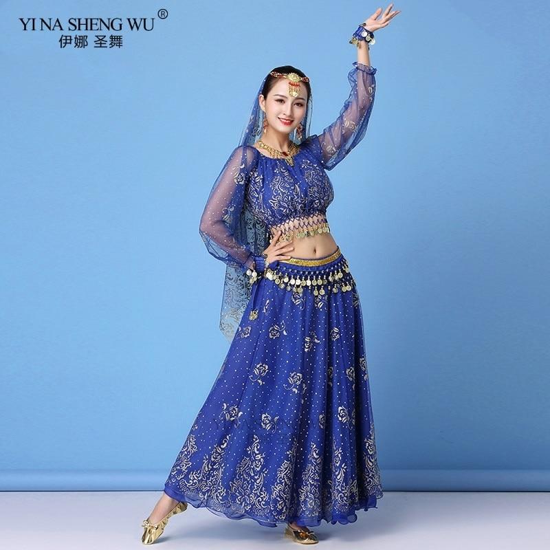 Bollywood Dress Costume Women Set Indian Dance Sari Belly Dance Outfit Performance Clothes Chiffon Long Sleeve Top+Belt+Skirt
