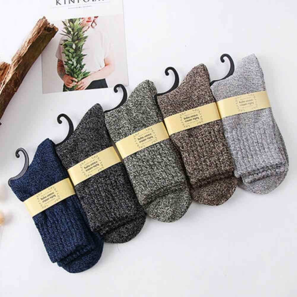Winter Retro Men Solid Color Soft Warm Woolen Sport Thermal Middle Tube Socks