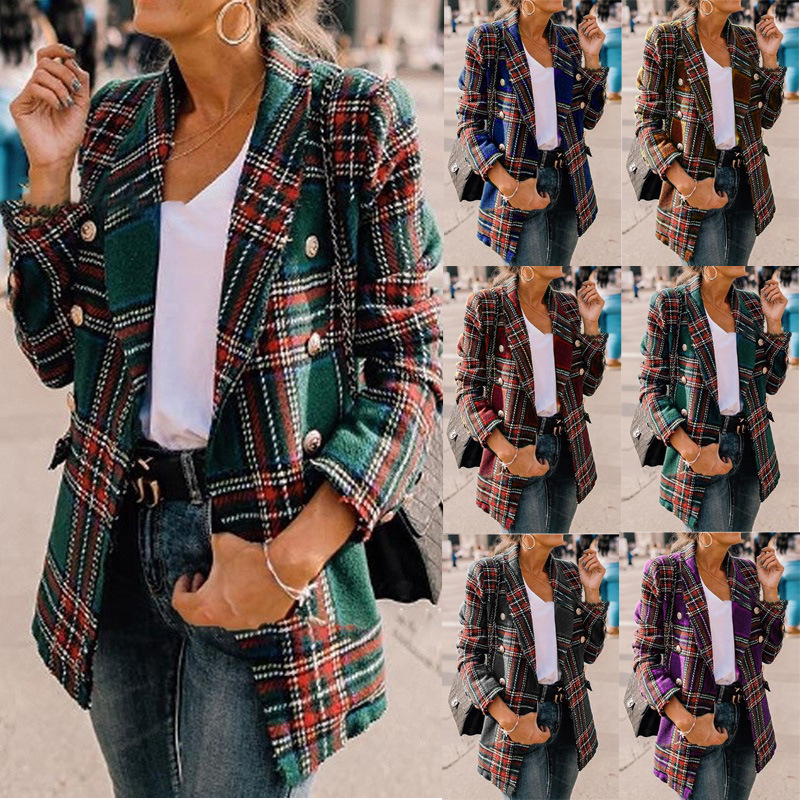 Ladies Autumn Winter 2020 Hot Sale Fashion Plaid Long Sleeve Suit Collar Coats Female Casual Loose Long Splice Cotton Open Tops