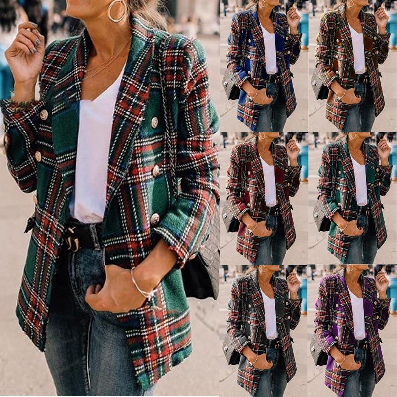 Ladies Autumn Winter 2020 Hot Sale Fashion Plaid Long Sleeve Suit Collar Coats Female Casual Loose Long Splice Cotton Open Tops