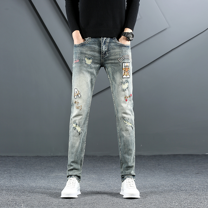 European American Style Cotton Distressed Letter Print Sexy Jeans Casual Retro Ripped Jeans Men High Quality Stretch Slim Denim