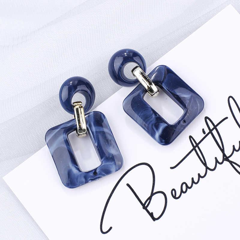 AMORCOME pendientes de gota geométricos azules coreanos muchos pendientes colgantes azules de moda de resina de cristal acrílico pendientes colgantes