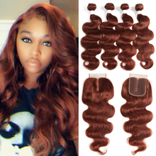 Bundle Closure Human-Hair-Weave-Bundles Auburn KEMY Hair-Extensions Brown Body-Wave Brazilian
