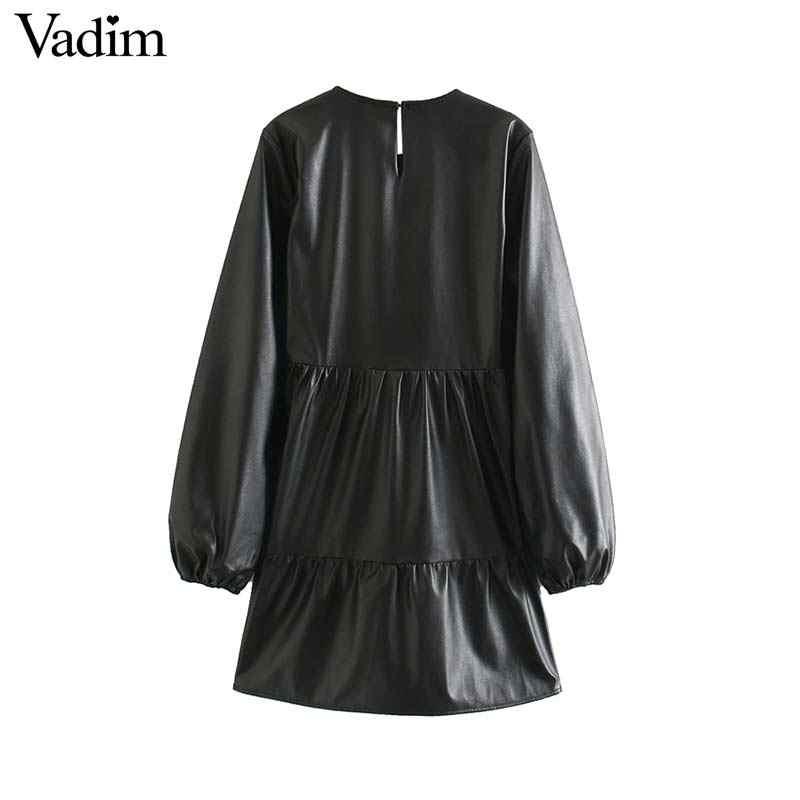 """Vadim Nữ Da PU Thời Trang Mini Tay Dài Cổ Tròn Cơ Bản Nữ Thời Trang Đen Áo Vestidos Mujer """"QD126"""