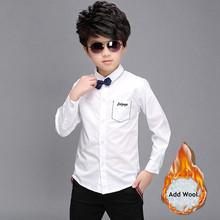 Shirts Boys Clothing Button-Tops Teenage Long-Sleeve White Winter Cotton Children