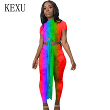 KEXU Vintage Casual Two Pieces Sets Comfortable Jumpsuits Tie Dyeing Bodycon Bandage Women Short Sleeve Hollow Out Playsuits