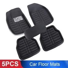 5 шт. черные кожаные универсальные автомобильные коврики, передние и задние накладки, набор погодных условий, автомобильные аксессуары