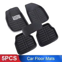 5pcs Black Leather Universal Auto Car Floor Mats Front Rear Liner Weather Set Car Accessories