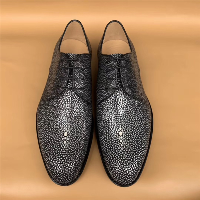 Authentic Real Stingray Leather Handmade Men's Business Dress Shoes Genuine Exotic Skate Skin Male Lace-up Formal Oxford Shoes