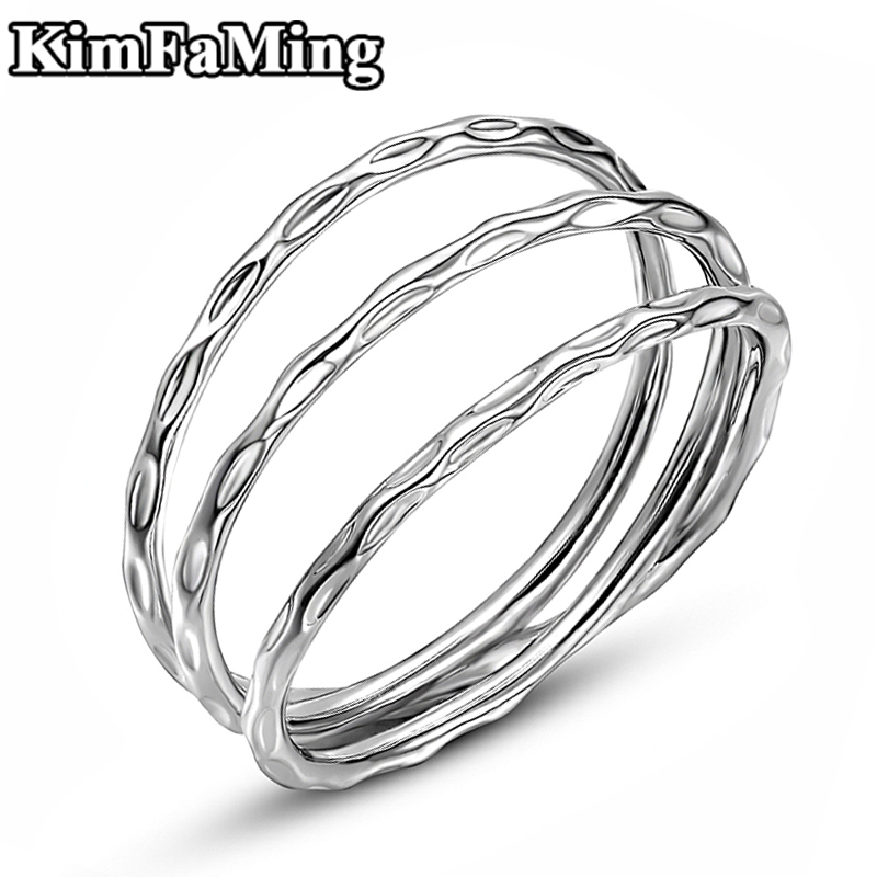 Hot Trendy Women /Men Multi Layer Plain Silver Casual Rings High Quality Hammered Party Fine Statement Jewellery NR067