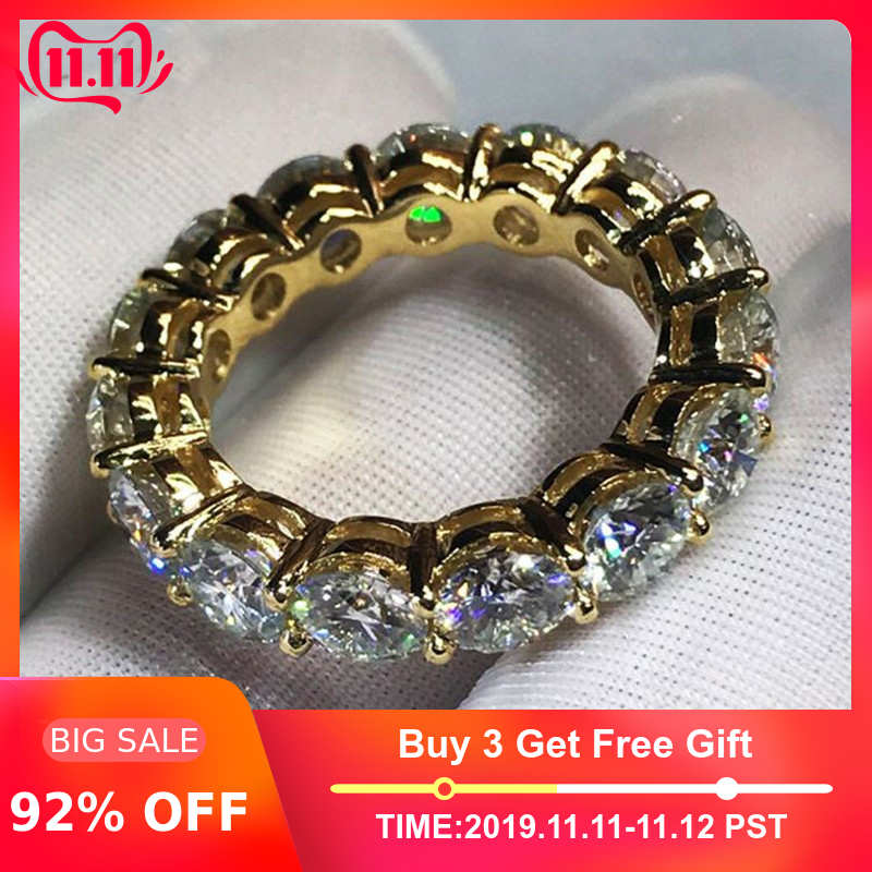 3 colors Finger ring Round 4mm Sona zircon cz Yellow Gold Filled 925 silver Enagement Wedding Band Rings for women Men Jewelry