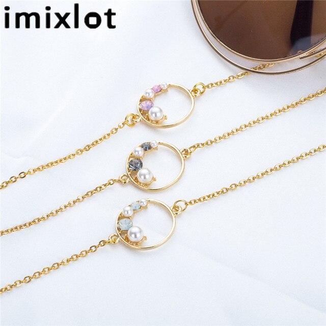 Imixlot lunettes de luxe Chic en acier titane | Chaîne de perles, de fleurs, cercle de lunettes, cordon de cou, lanière de lunettes