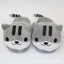 flip flops fur home slippers winter women shoes Cat animation comfortable indoor cotton shoes zapatos de mujer fluffy slides(China)