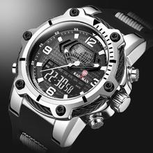Cyfrowy męski zegarek wojskowy 50m zegarek wodoodporny LED zegarek kwarcowy zegarek sportowy męski duży zegarek męski S Shock relogios masculino tanie tanio KADEMAN STAINLESS STEEL 26cm 5Bar Klamra ROUND 23 5mm 20 5mm Hardlex Stoper Podświetlenie Odporny na wstrząsy Wyświetlacz LED