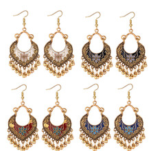 Ethnic Style Long Tassel Earrings for Women Peach Heart Painting Oil Flower Female Metal Ball