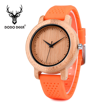 DODO DEER Wholesale Mens Watches Top Brand Luxury Quartz часы мужские Silicone strap Bamboo Wristwatch Male in Gift Box