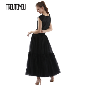 Image 3 - Treutoyeu ออกแบบหรูหรา Tulle จีบกระโปรงสีดำสีเทานุ่มตาข่ายสูงเอว Maxi กระโปรงยาวผู้หญิง Faldas Mujer Moda 2020 jupe