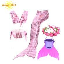AngelGirl yüzme Mermaid kuyruk Monofin ile kızlar için rahat denizkızı Cosplay kostüm partisi elbise tatil Beachwear
