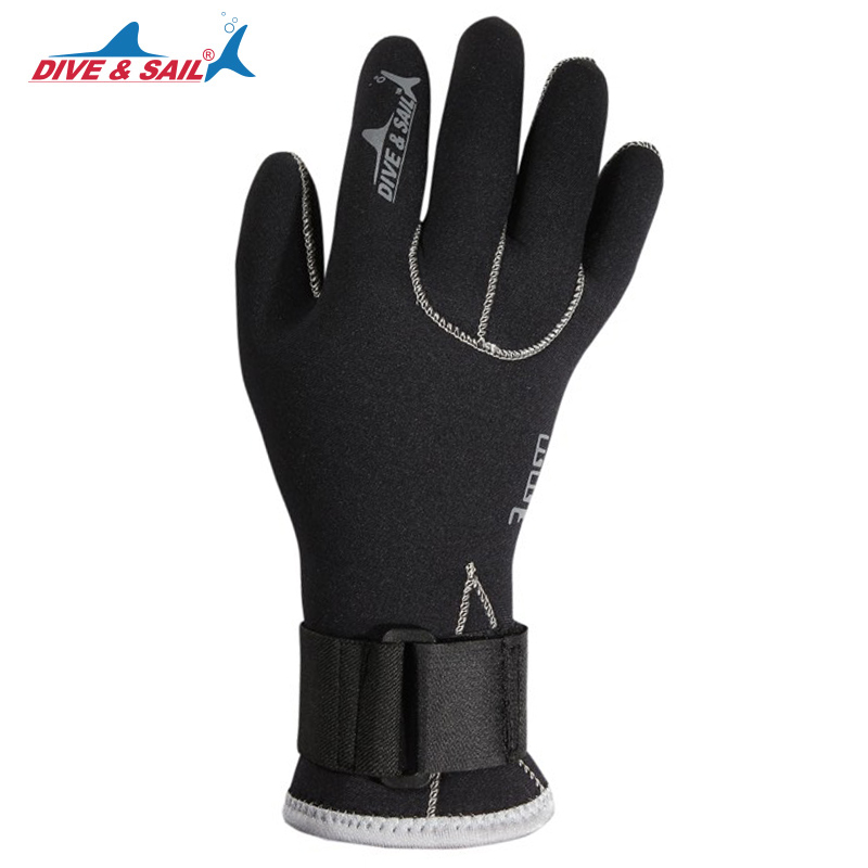 DIVE&SAIL Anti-scratch 3mm Neoprene Scuba Dive Gloves with Wristband Winter Keep Warm Swimming Spearfishing Snorkeling Equipment
