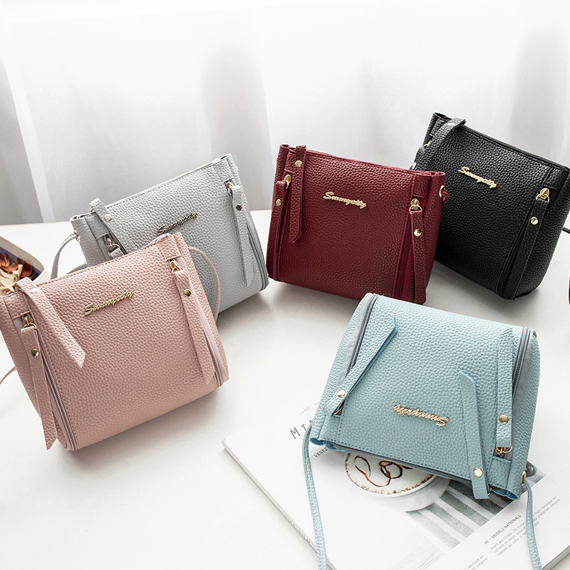 2020 Korean Style  Women's Shoulder Small Square Bag Spring Summer PU Leather Messager Crossbody Bag Famous Brand Design