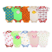 [2 Pcs/Lot Random Color]Cartoon Print Newborn Baby Bodysuit Cotton Short Sleeve Baby Jumpsuit Summer Toddler Clothes 0-24Months(China)
