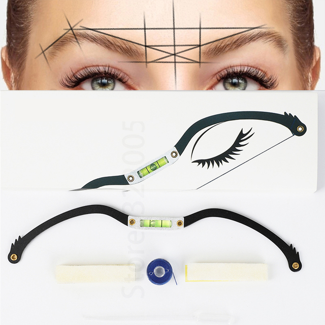 Microblading Eyebrow Line Marker Ruler Pre inked Brow Mapping Dyeing Thread Semi Permanent Positioning Eyebrow Measuring Tool